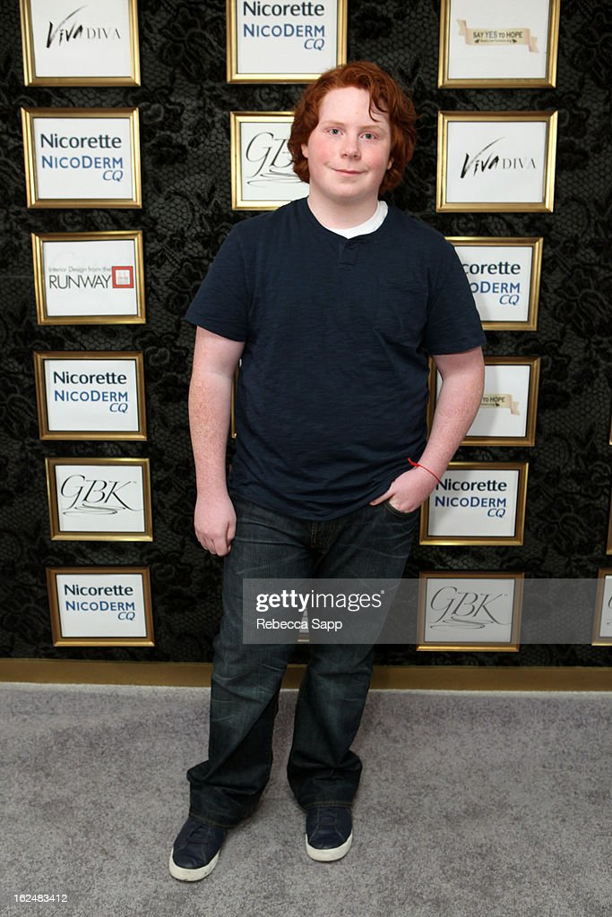 Actor Tucker Albrizzi at GBK's Oscars Gift Lounge 2013 Day 2 at Sofitel Hotel on February 23 2013 in Los Angeles California