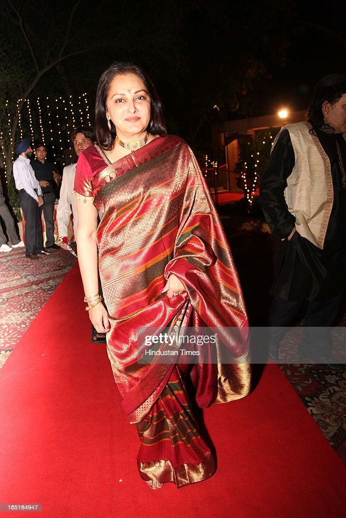 Actor turned politician Jaya Prada at the wedding reception of educationist Dr SB Mujumdar's grandson Ameya Yeravdekar and Swati Thorat at Delhi Gymkhana on March 22, 2013 in New Delhi, India.
