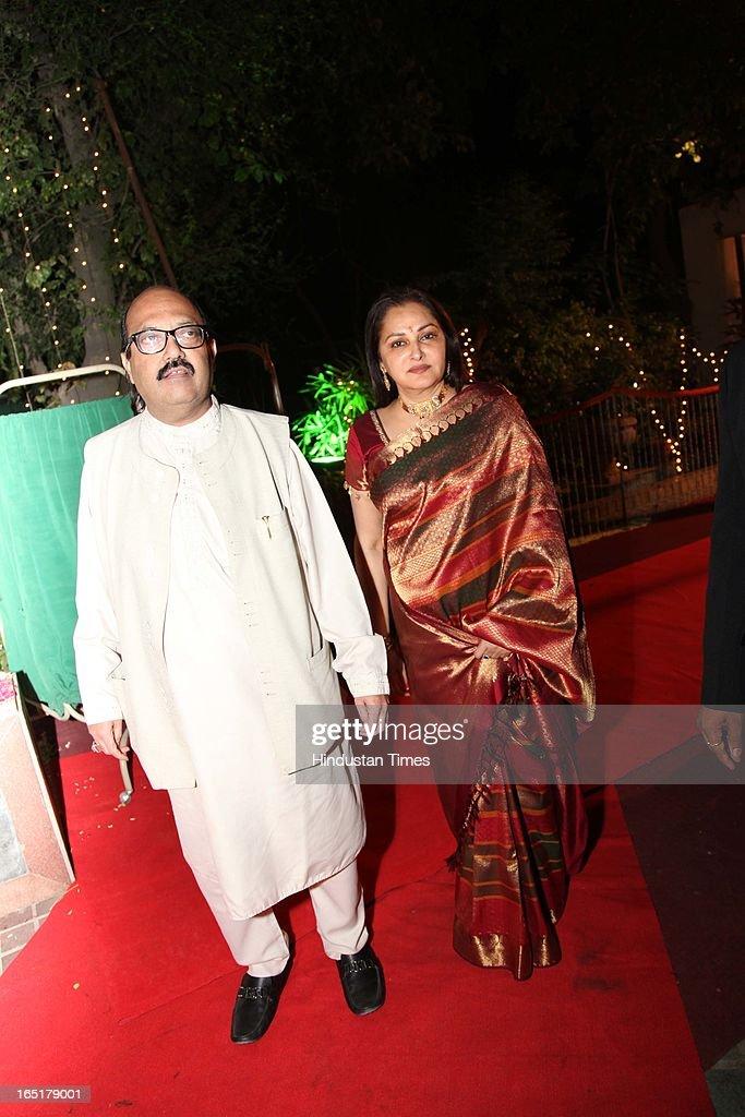 Actor turned politician Jaya Prada with politician Amar Singh at the wedding reception of educationist Dr SB Mujumdar's grandson Ameya Yeravdekar and Swati Thorat at Delhi Gymkhana on March 22, 2013 in New Delhi, India.