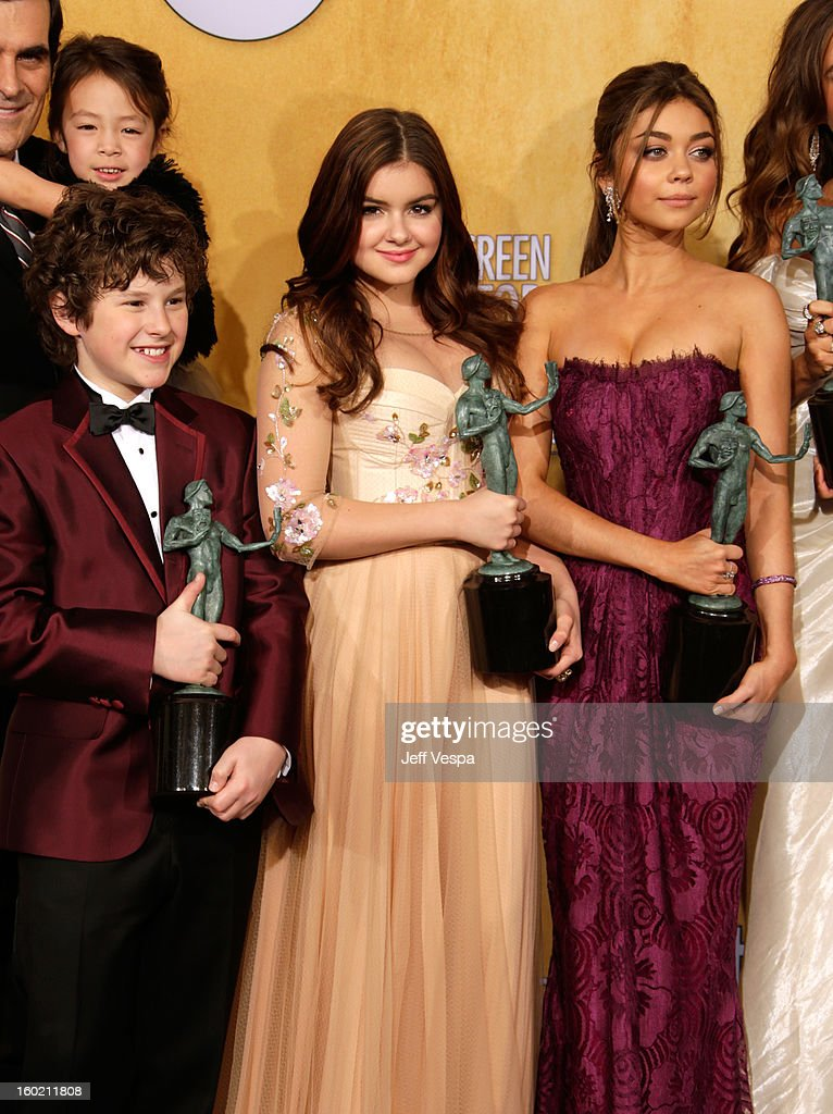 Actor Ty Burrell, actress Aubrey Anderson-Emmons, actor Nolan Gould, actress Ariel Winter and actress Sarah Hyland pose in the press room during the 19th Annual Screen Actors Guild Awards held at The Shrine Auditorium on January 27, 2013 in Los Angeles, California.