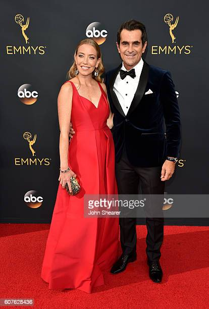 Actor Ty Burrell and Holly Burrell arrive at the 68th Annual Primetime Emmy Awards at Microsoft Theater on September 18 2016 in Los Angeles California