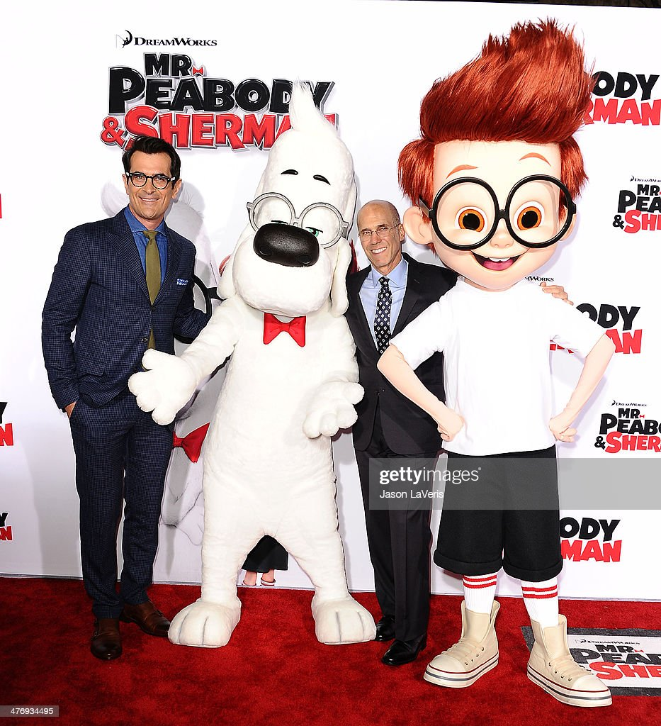 Actor Ty Burrell and Jeffrey Katzenberg attend the premiere of 'Mr Peabody Sherman' at Regency Village Theatre on March 5 2014 in Westwood California