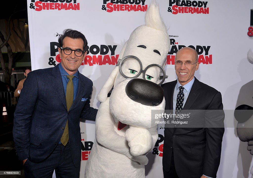 Actor Ty Burrell and Jeffrey Katzenberg CEO DreamWorks Animation attend the premiere of Twentieth Century Fox and DreamWorks Animation's 'Mr Peabody...