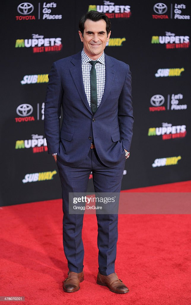 Actor <a gi-track='captionPersonalityLinkClicked' href=/galleries/search?phrase=Ty+Burrell&family=editorial&specificpeople=700077 ng-click='$event.stopPropagation()'>Ty Burrell</a> arrives at the Los Angeles premiere of 'Muppets Most Wanted' at the El Capitan Theatre on March 11, 2014 in Hollywood, California.