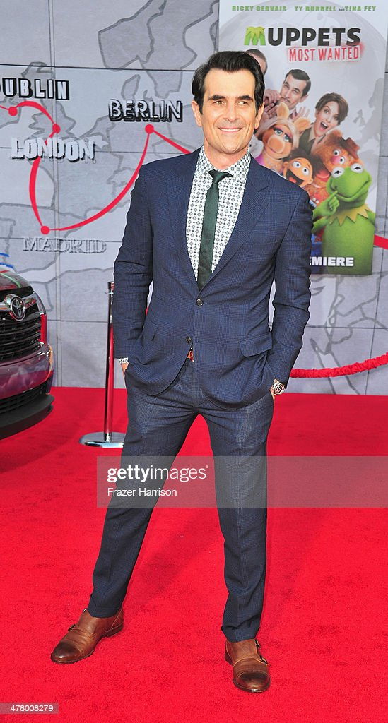Actor Ty Burrell arrives at the premiere Of Disney's 'Muppets Most Wanted' at the El Capitan Theatre on March 11 2014 in Hollywood California
