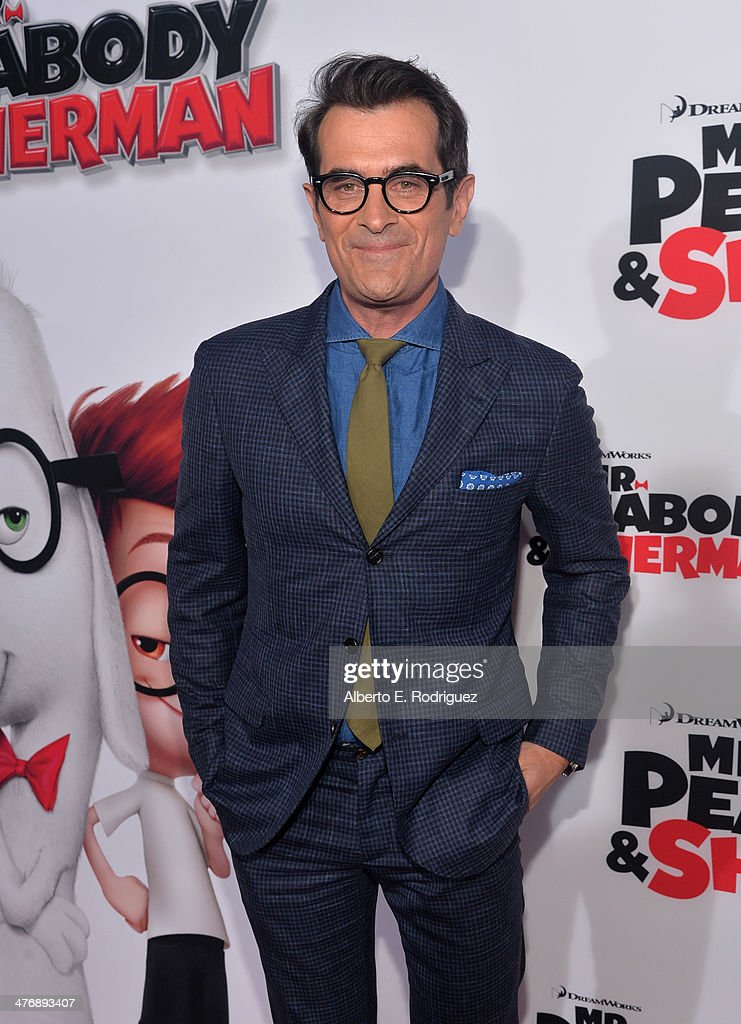 Actor <a gi-track='captionPersonalityLinkClicked' href=/galleries/search?phrase=Ty+Burrell&family=editorial&specificpeople=700077 ng-click='$event.stopPropagation()'>Ty Burrell</a> attends the premiere of Twentieth Century Fox and DreamWorks Animation's 'Mr. Peabody & Sherman' at Regency Village Theatre on March 5, 2014 in Westwood, California.
