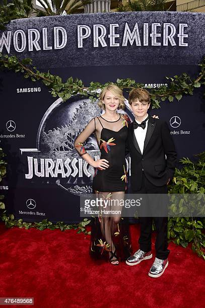 Actor Ty Simpkins and Ryan Simpkins attend the Universal Pictures' 'Jurassic World' premiere at Dolby Theatre on June 9 2015 in Hollywood California