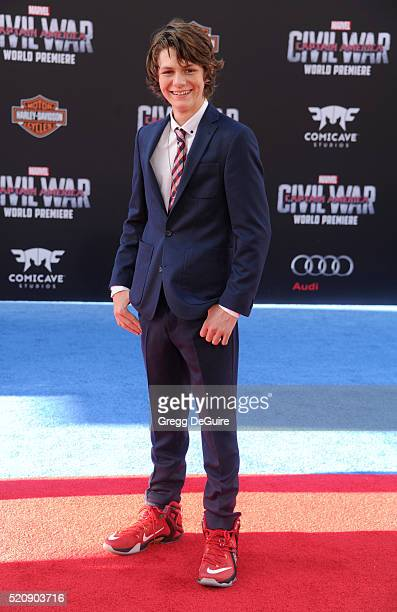 Actor Ty Simpkins arrives at the premiere of Marvel's 'Captain America Civil War' on April 12 2016 in Hollywood California
