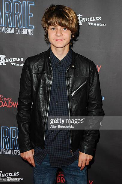 Actor Ty Simpkins attends the 'Carrie The Killer Musical Experience' opening night red carpet at Los Angeles Theatre on October 8 2015 in Los Angeles...
