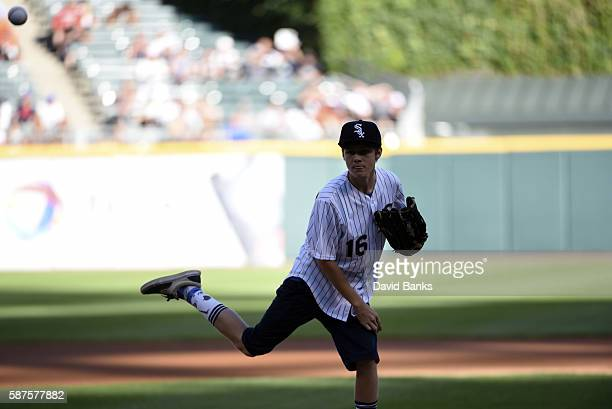 Actor Ty Simpkins throws out a ceremonial first pitch before a game between the Chicago White Sox and the Baltimore Orioles on July 6 2016 at U S...