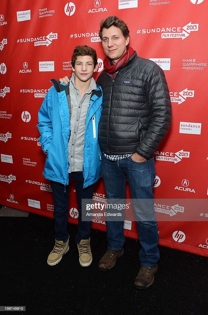 Actor Tye Sheridan (L) and Director Jeff Nichols arrive at the 2013 Sundance Film Festival Premiere of 'Mud' at The Marc Theatre on January 19, 2013 in Park City, Utah.