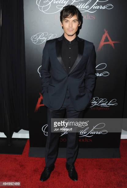 Actor Tyler Blackburn arrives at 'Pretty Little Liars' Celebrates 100 Episodes at W Hollywood on May 31 2014 in Hollywood California