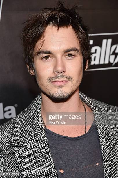 Actor Tyler Blackburn attends the Fallout 4 video game launch event in downtown Los Angeles on November 5 2015 in Los Angeles California