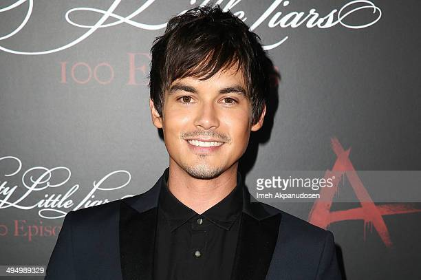 Actor Tyler Blackburn attends the 'Pretty Little Liars' 100th episode celebration at W Hollywood on May 31 2014 in Hollywood California