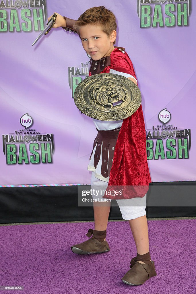Actor Tyler Champagne arrives at Hub Network's 1st annual Halloween bash at Barker Hangar on October 20, 2013 in Santa Monica, California.