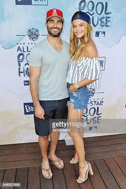 Actor Tyler Hoechlin and model Nina Agdal attend the New Era Pool House at MLB AllStar Week at Palomar Hotel on July 11 2016 in San Diego California