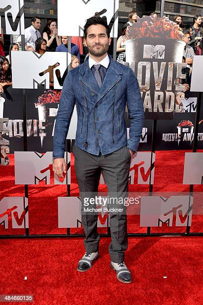 Actor Tyler Hoechlin attends the 2014 MTV Movie Awards at Nokia Theatre LA Live on April 13 2014 in Los Angeles California