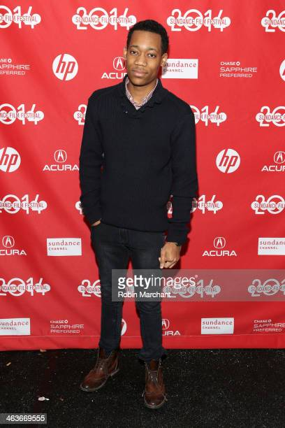 Actor Tyler James Williams attends the premiere of 'Dear White People' at the Library Center Theater during the 2014 Sundance Film Festival on...