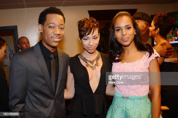 Actor Tyler James Williams musician Karina Pasian and actress Kerry Washington attend the 44th NAACP Image Awards at The Shrine Auditorium on...