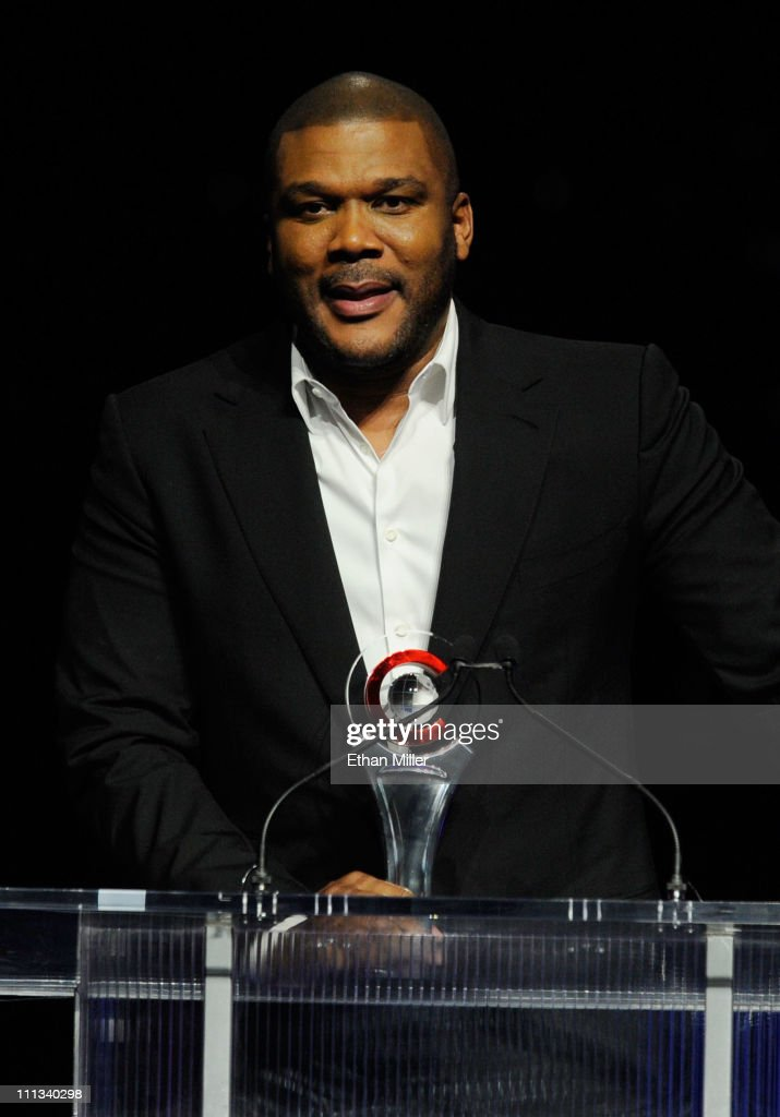 Actor Tyler Perry accepts the CinemaCon Visionary Award at the CinemaCon awards ceremony at The Colosseum at Caesars Palace during CinemaCon, the official convention of the National Association of Theatre Owners, March 31, 2011 in Las Vegas, Nevada.