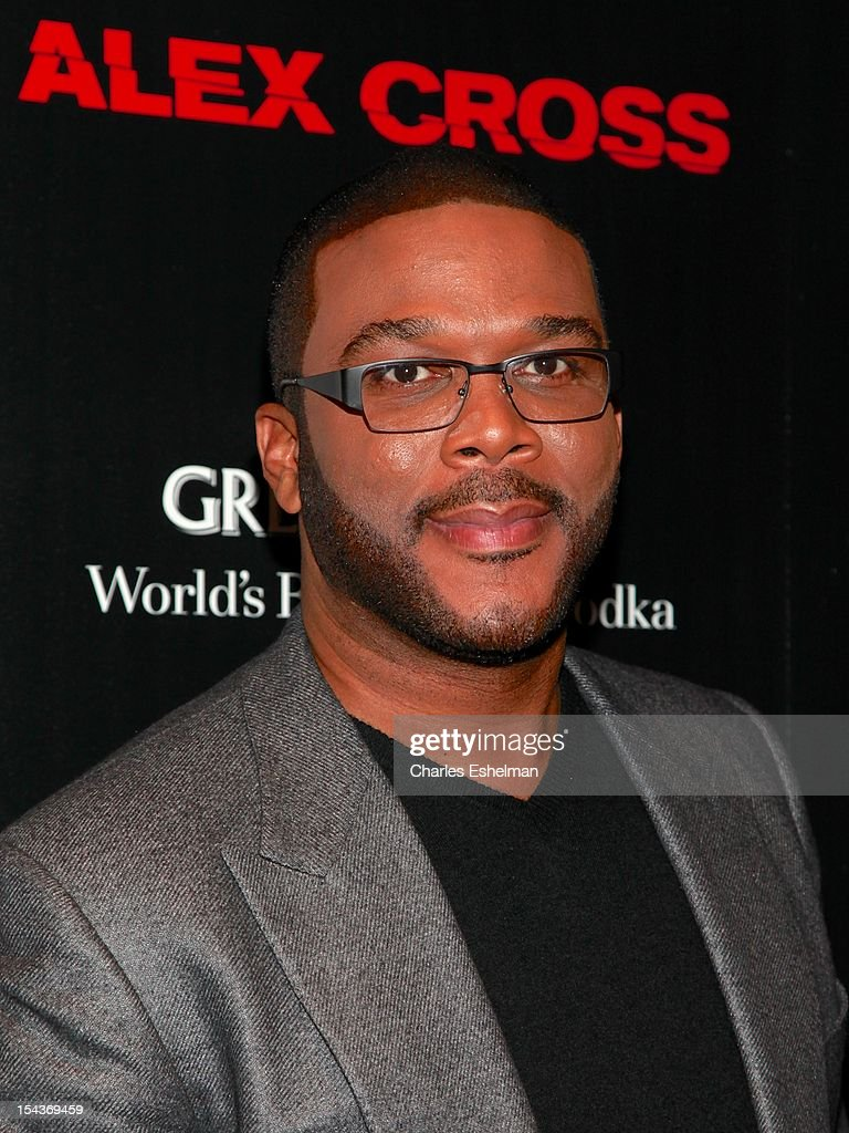 Actor <a gi-track='captionPersonalityLinkClicked' href=/galleries/search?phrase=Tyler+Perry&family=editorial&specificpeople=678008 ng-click='$event.stopPropagation()'>Tyler Perry</a> attends The the Cinema Society & Grey Goose screening of 'Alex Cross' at Tribeca Grand Screening Room on October 18, 2012 in New York City.