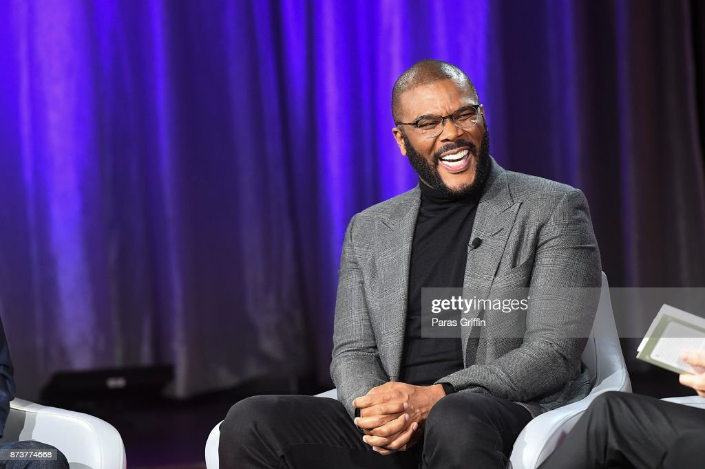 Actor Tyler Perry discuss his new book 'Higher Is Waiting' during a SiriusXM 'Town Hall' event hosted by Joel & Victoria Osteen on November 13, 2017 at Tyler Perry Studios in Atlanta, Georgia.