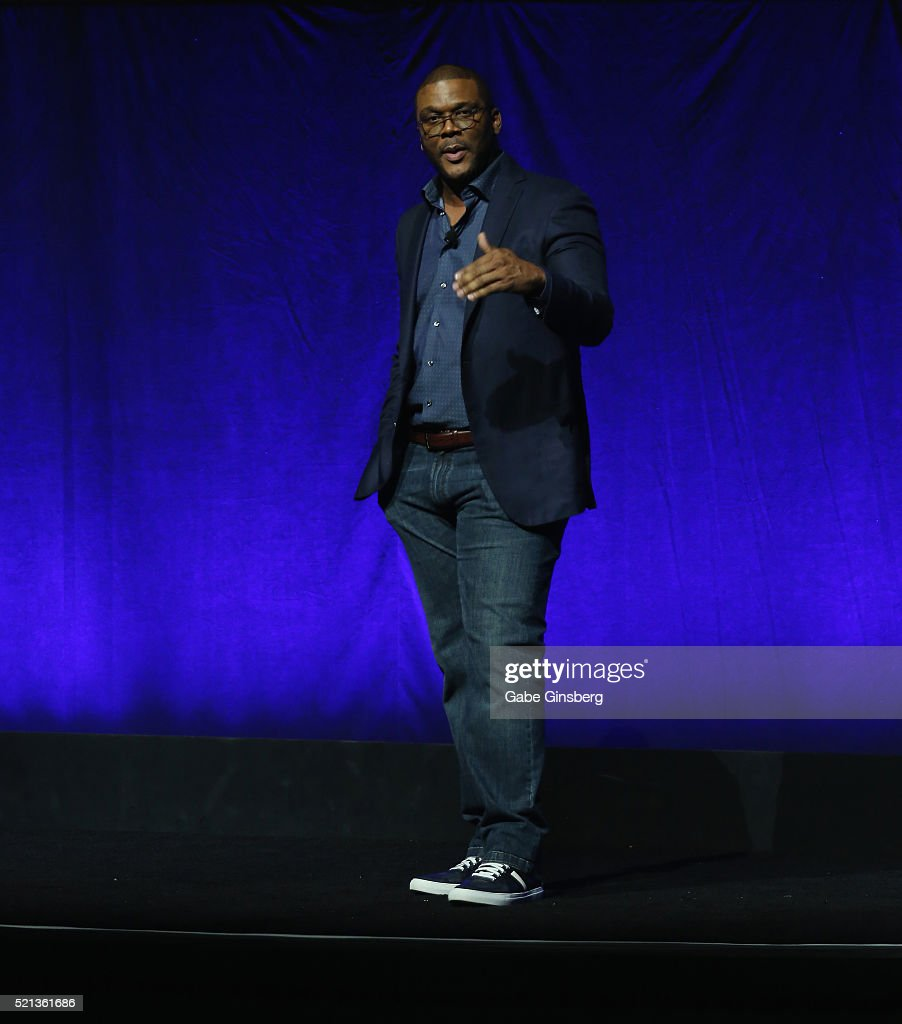 Actor Tyler Perry speaks during Lionsgate's presentation at The Colosseum at Caesars Palace during CinemaCon the official convention of the National...