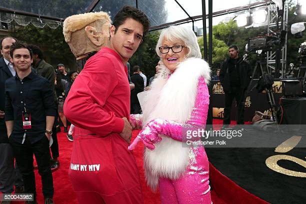 Actor Tyler Posey and internet personality Baddie Winkle attend the 2016 MTV Movie Awards at Warner Bros Studios on April 9 2016 in Burbank...