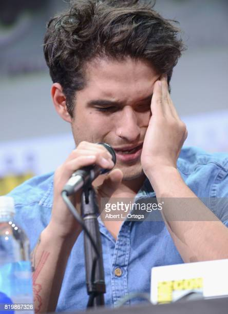 Actor Tyler Posey cries onstage at the 'Teen Wolf' panel during ComicCon International 2017 at San Diego Convention Center on July 20 2017 in San...
