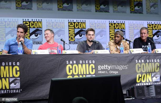 Actor Tyler Posey executive producer Jeff Davis actors Dylan Sprayberry Khylin Rhambo and Linden Ashby speak onstage at the 'Teen Wolf' panel during...