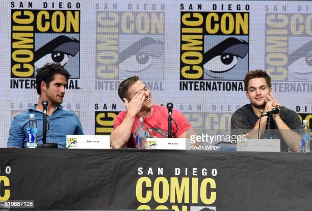 Actor Tyler Posey executive producer Jeff Davis and actor Dylan Sprayberry speak onstage at the 'Teen Wolf' panel during ComicCon International 2017...