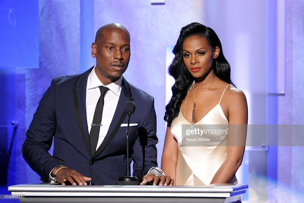 Actor <a gi-track='captionPersonalityLinkClicked' href=/galleries/search?phrase=Tyrese&family=editorial&specificpeople=206177 ng-click='$event.stopPropagation()'>Tyrese</a> Gibson (L) and actress <a gi-track='captionPersonalityLinkClicked' href=/galleries/search?phrase=Tika+Sumpter&family=editorial&specificpeople=4168370 ng-click='$event.stopPropagation()'>Tika Sumpter</a> speak onstage during the 45th NAACP Image Awards presented by TV One at Pasadena Civic Auditorium on February 22, 2014 in Pasadena, California.