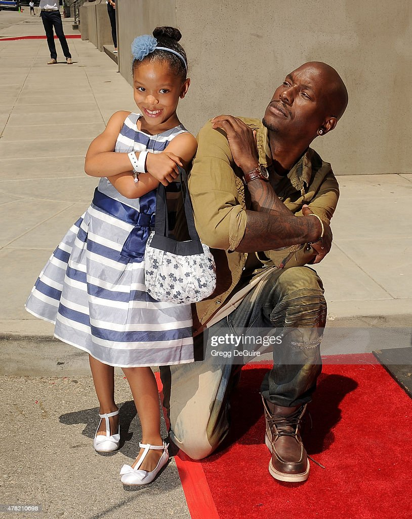 Actor Tyrese Gibson and daughter Shayla Somer Gibson arrive at the premiere of the 'Fast & Furious - Supercharged' Ride at Universal Studios Hollywood on June 23, 2015 in Universal City, California.