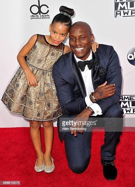Actor Tyrese Gibson and daughter Shayla Somer Gibson arrive at the 2015 American Music Awards at Microsoft Theater on November 22 2015 in Los Angeles...