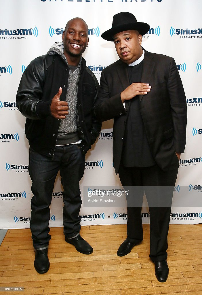 Actor <a gi-track='captionPersonalityLinkClicked' href=/galleries/search?phrase=Tyrese&family=editorial&specificpeople=206177 ng-click='$event.stopPropagation()'>Tyrese</a> Gibson and Rev Run Simmons of Run DMC visit the SiriusXM Studios on February 4, 2013 in New York City.