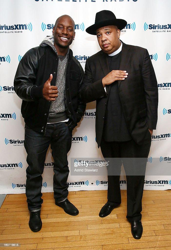 Actor Tyrese Gibson and Rev Run Simmons of Run DMC visit the SiriusXM Studios on February 4, 2013 in New York City.