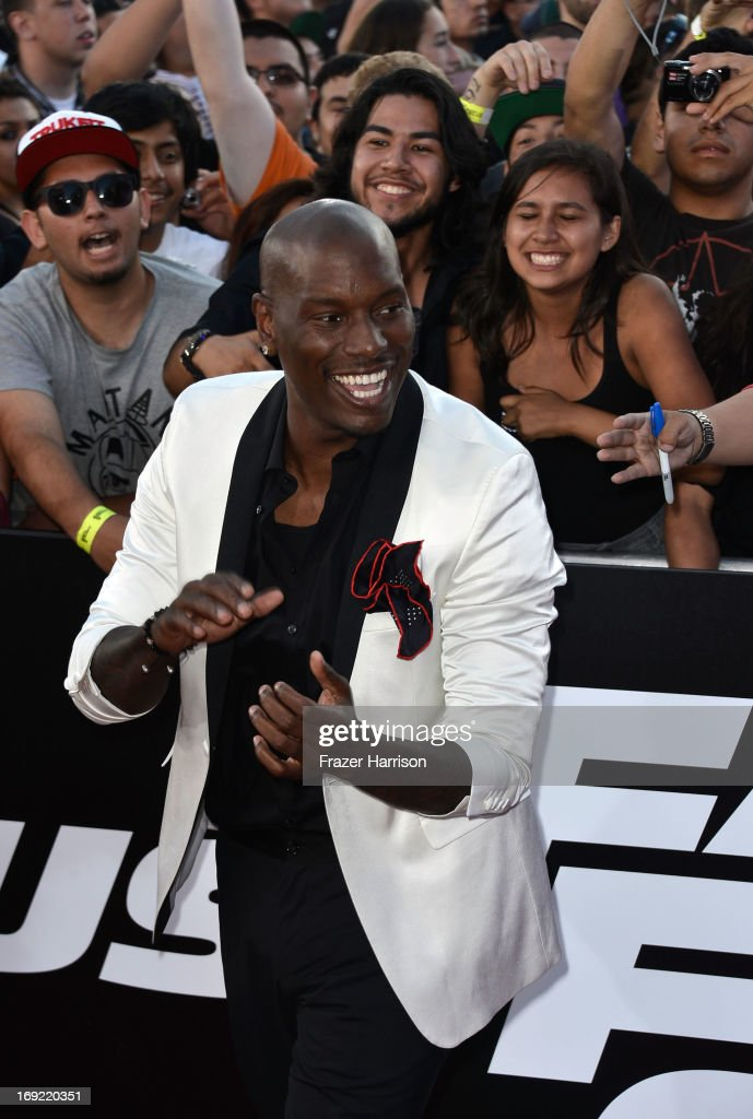 Actor <a gi-track='captionPersonalityLinkClicked' href=/galleries/search?phrase=Tyrese&family=editorial&specificpeople=206177 ng-click='$event.stopPropagation()'>Tyrese</a> Gibson arrives at the Premiere Of Universal Pictures' 'Fast & Furious 6' on May 21, 2013 in Universal City, California.