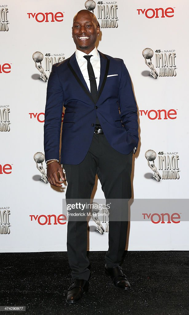 Actor <a gi-track='captionPersonalityLinkClicked' href=/galleries/search?phrase=Tyrese&family=editorial&specificpeople=206177 ng-click='$event.stopPropagation()'>Tyrese</a> Gibson poses in the press room during the 45th NAACP Image Awards presented by TV One at Pasadena Civic Auditorium on February 22, 2014 in Pasadena, California.