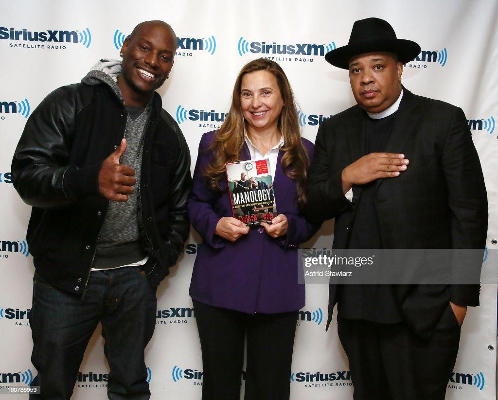 Actor Tyrese Gibson, SiriusXM host Judith Regan and Rev Run Simmons of Run DMC pose for photos at SiriusXM Studios on February 4, 2013 in New York City.