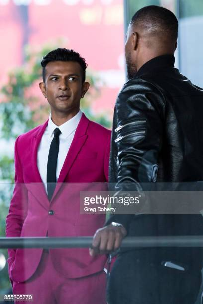Actor Utkarsh Ambudkar and Actor/Executive Producer Jamie Foxx attend the Premiere Of Showtime's 'White Famous' at The Jeremy Hotel on September 27...
