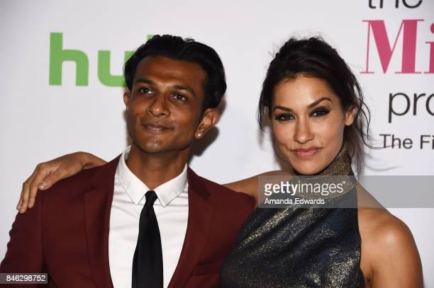 Actor Utkarsh Ambudkar and actress Janina Gavankar arrive at Hulu's 'The Mindy Project' Final Season Premiere Party at The London West Hollywood on...