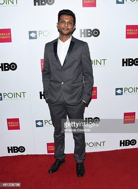 Actor Utkarsh Ambudkar arrives at the Point Foundation's Voices On Point Gala at the Hyatt Regency Century Plaza on October 3 2015 in Century City...