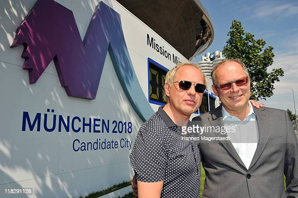 Actor Uwe Ochsenknecht and Axel Milberg attend the Public Viewing Of Host City Election For The XXIII Olympic Winter Games 2018 At BMW Welt on July 6...