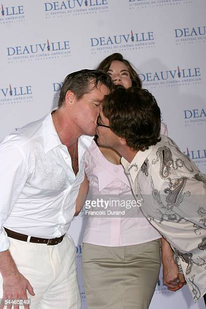 Actor Val Kilmer Michelle Monaghan and Robert Downey Jr pose at the photocall for 'Kiss Kiss Bang Bang' at the 31st Deauville Festival Of American...