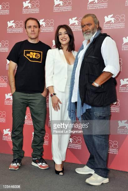 Actor Valerio Mastandrea actress Valentina Lodovini and actor Diego Abatantuono pose at the 'Cose dell'Altro Mondo' and 'A chjana' photocall during...