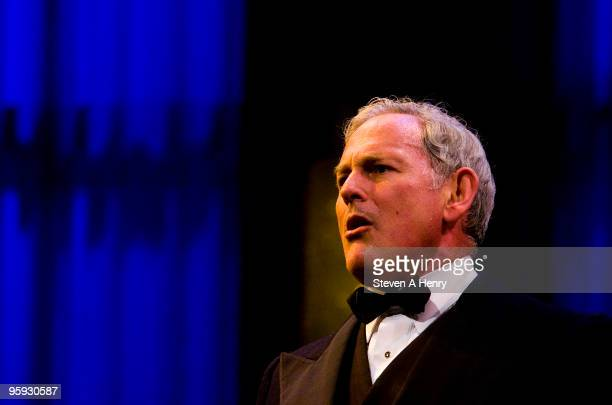 Actor Victor Garber on stage during the curtain call for the opening night of 'Present Laughter' on Broadway at the American Airlines Theatre on...