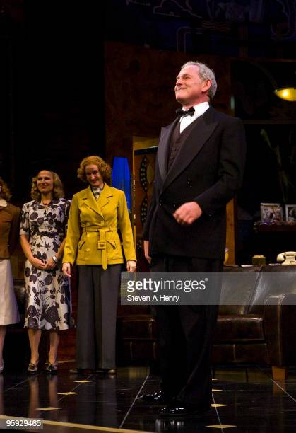 Actor Victor Garber poses at the curtain call during the opening night of 'Present Laughter' on Broadway at the American Airlines Theatre on January...