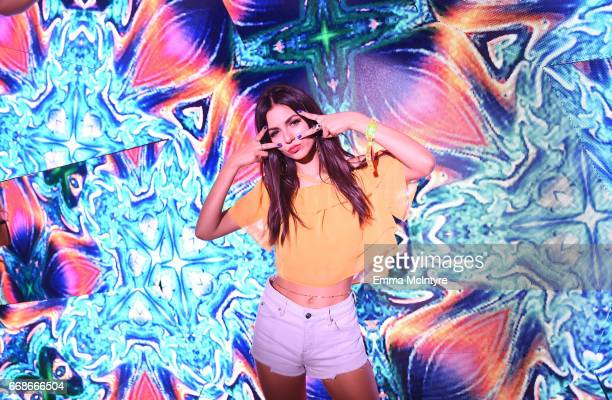 Actor Victoria Justice attends HM Loves Coachella Tent during day 1 of the Coachella Valley Music Arts Festival at the Empire Polo Club on April 14...