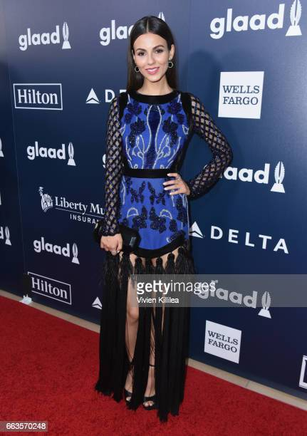 Actor Victoria Justice attends the 28th Annual GLAAD Media Awards in LA at The Beverly Hilton Hotel on April 1 2017 in Beverly Hills California