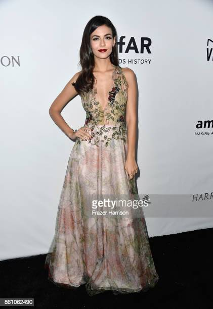 Actor Victoria Justice attends the amfAR Gala at Ron Burkle's Green Acres Estate on October 13 2017 in Beverly Hills California